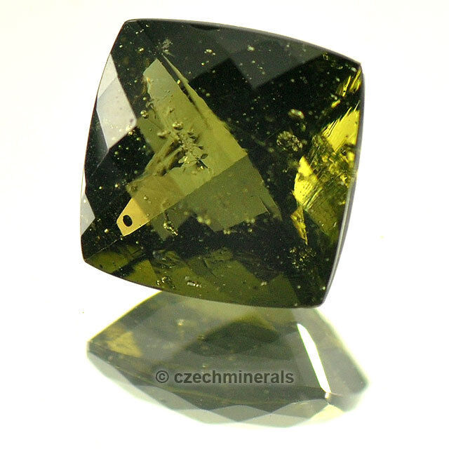 1,75cts square checker top cut 8mm moldavite faceted cutted gem BRUS717
