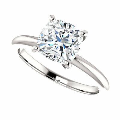 Charming 1.50 Ctw Cushion Cut Diamond Engagement Ring 18K White Gold H VS2 GIA 1