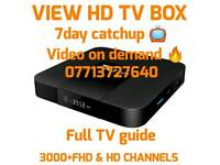 VIEW FHD TV BOX, 3000+ CHANNELS, TV GUIDE 7 DAY CATXHUO & VOD