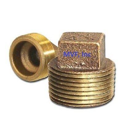 1″ Lead-Free Brass Pipe Plug 125# Threaded Square Head CORED Plug <BR150641 Brass Square Head Plug