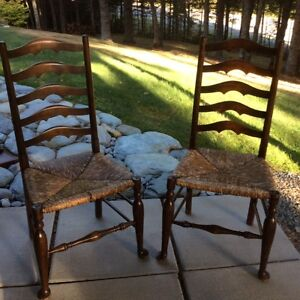2 Antique Ladder Back Chairs