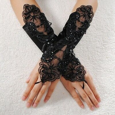 Gloves - Halloween Lace Fingerless Black Sequin Satin - Bridal Wedding FROM UK