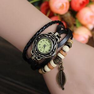 Quartz Vintage Weave WRAP Around Leather Bracelet Lady Woman Watch
