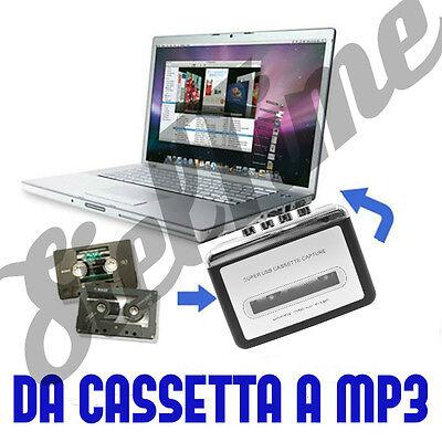 CONVERTITORE DA CASSETTA A MP3 WALKMAN AUDIO ANALOGICO DIGITALE USB ADATTATORE