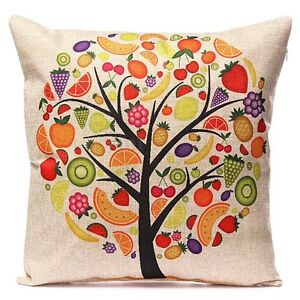 NEW Vintage Style Fruit Salad Tree Print Square Cushion Cover RRP $20 North Melbourne Melbourne City Preview