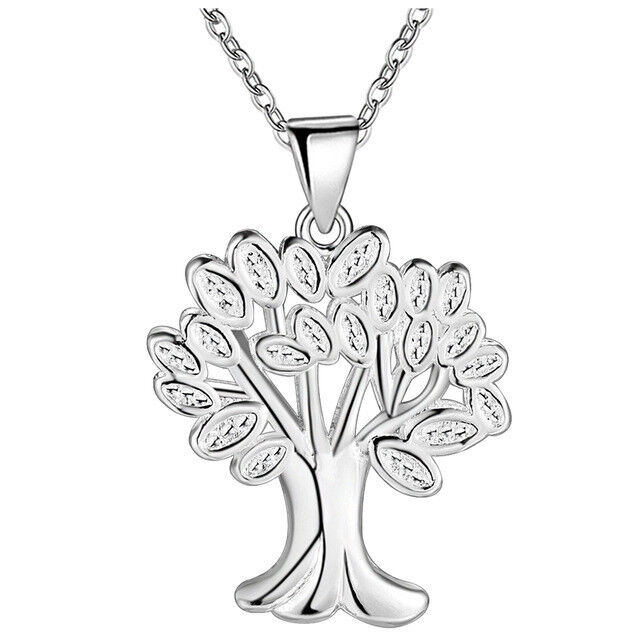 Tree-of-Life Charm Pendant & Chain Necklace in 925 Sterling Silver Tree Pendant Fashion Jewelry