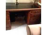 Antique Oak Pedestal Desk.
