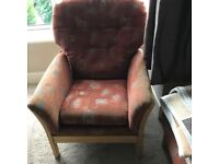 High Back Fabric Armchair with Matching Foot Stool