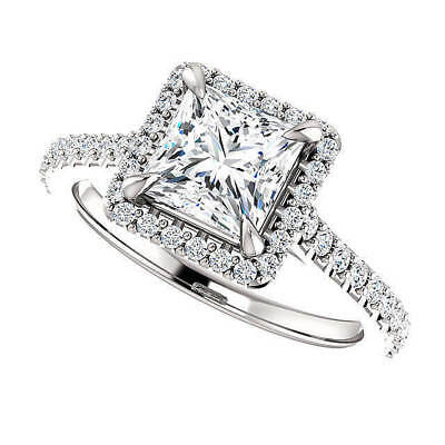 1.55 ct. Princess Cut Halo U-Setting Diamond Engagement Ring F, VS1 GIA 14k WG