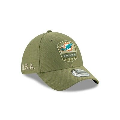 2019 Miami Dolphins New Era 39THIRTY NFL Salute To Service Sideline Cap Hat Miami Dolphins Cap