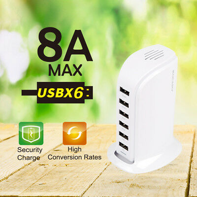 40W Multi 6 USB Port Desktop Charger Rapid Tower Charging...