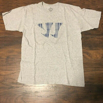 Plaid Logo Shirt (Warrior Sports gray blue plaid logo Tee Shirt Size Large)