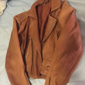 Women real leather jacket size S - great condition brown beige camel Wollstonecraft North Sydney Area Preview