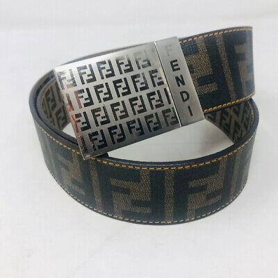 Fendi Men's Brown Coated Canvase Reversible Zucca Belt 369-108-21520