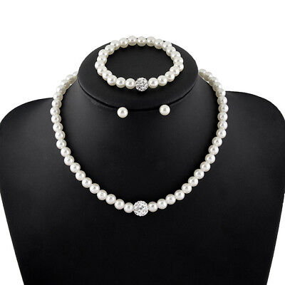 Strand White Faux Pearl (Ivory/White Simple Single Strand Faux Pearl Necklace Set bridesmaid (USA)