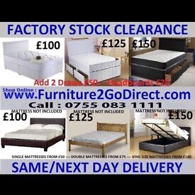 Modern selection of quality new bed frame with mattress.