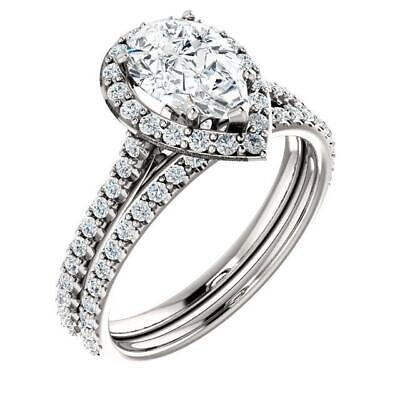 2.50 Ctw Halo Pear Cut U-Setting Pave Diamond Engagement Ring Set F,SI1 14K WG