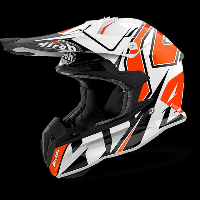 casco moto cross enduro quad atv Airoh Terminator 2.2 Shock Gloss 2018 arancio