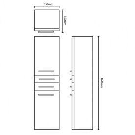 Gloss White 2 Door & 2 Drawer Tall Wall Unit