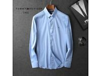 BRAND NEW - Mens Tommy Hilfiger Poplin Shirts Soft Formal Shirt Slim Fit White Blue - Medium Large