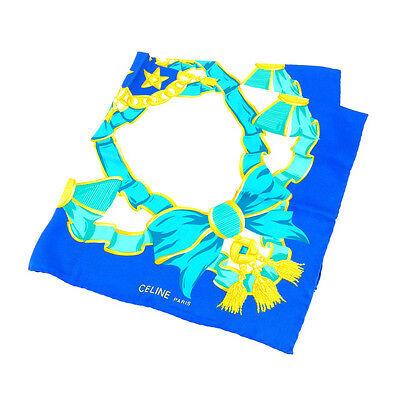 Auth CELINE CELINE Scarf Ladies Blue 100% silk used A 918