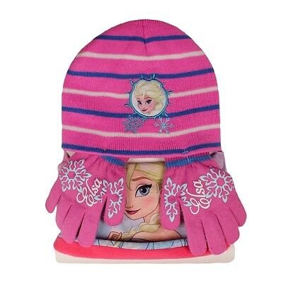 Disney Frozen Eiskönigin Elsa Kinder Winter Set 3 tlg. Mütze Bandana Handschuhe