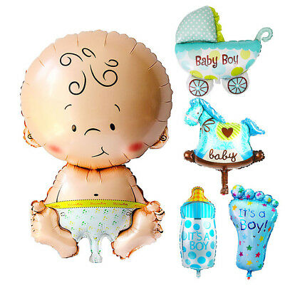 5 Set Baby Junge blau Boy Folienballons Luftballons Ballon Babyparty Dekoration ()