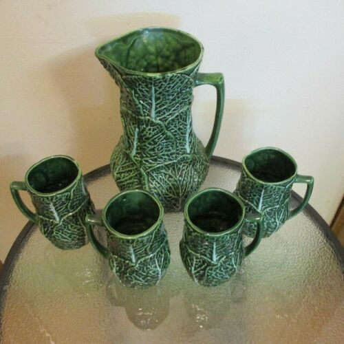 Green Cabbage Leaf Pitcher and 4 mugs