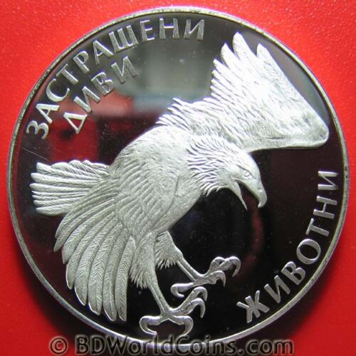 1992 BULGARIA 100 LEVA 0.70oz SILVER PROOF EAGLE BIRD WILDLIFE ROSE FLOWER CROWN
