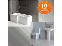 Complete Bathroom Suite L Shape Bath 1700 (left or right hand) Shower Screen + Square Toilet & Sink