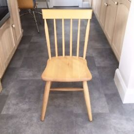x 4 Lovely beech farmhouse kitchen chairs looking for a new home. Bargain price for a quick sale!