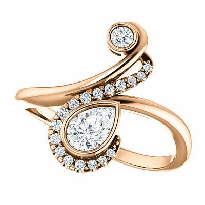 Diamond Bezel-Set Bypass Ring In 14K Rose Gold (1/2 ct. tw.) 1/2 Ct Diamond Pear Bezel