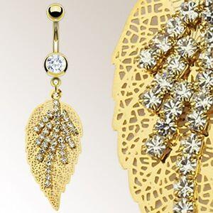 Gold-Plated-Over-Surgical-Steel-Multi-Gem-Golden-Leaf-Belly-Bar-Navel-Ring