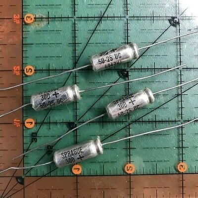 50uf 25v Sprague Axial Electrolytic Capacitor Te1209 30d 105c Audio 4pcs