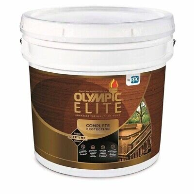 Olympic Semi Transparent Stain (Olympic Elite Advanced Stain+Sealant Semi-Transparent Water Brown 3Gallon)