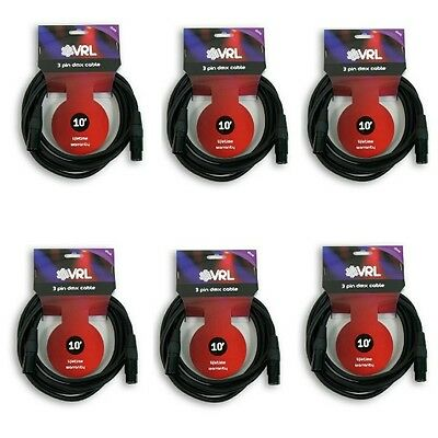 (6 pk) VRL 3 PIN 10' ft DMX PRO STAGE DJ LIGHTING DATA CABLE