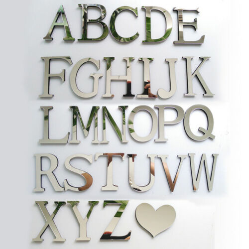 Home Decoration - 3D Mirror Wall Sticker 26 Letters DIY Art Mural Home Room Decor Acrylic Decals--