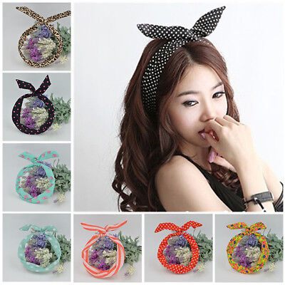 Vintage Women Cute Bow Rabbit Bunny Ear Ribbon Hair Band Wire Headband Wrap Gift