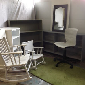 Bookcases, rocking chair, child's rocking chair, office chair