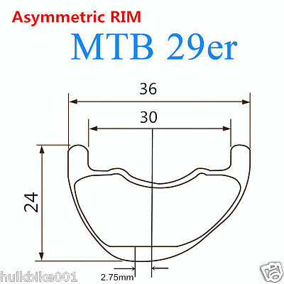 29er 36mm wide MTB carbon rim offset mountain bike rim asymmetric profile design