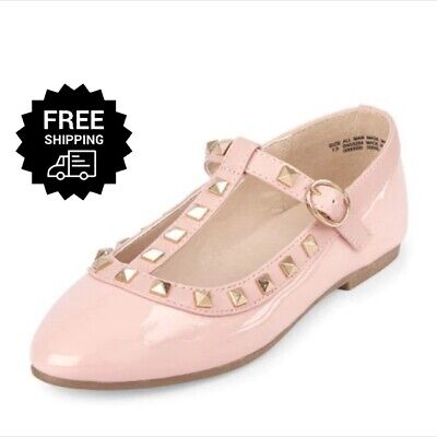 New Girls Shoes Studded T Strap Ballet Mary Jane Dress Shoes Pink 13, 2, 3 - Pink Girls Dress Shoes