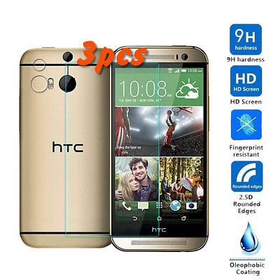3Pcs Ultra-Diluted Premium Tempered Glass Screen Protector for HTC One M8 HD Clear