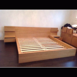 Queen size Ikea malm bedframe with side table