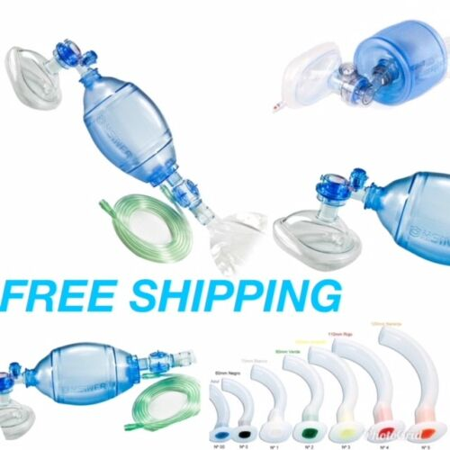Ambu Manual Resuscitator Bag  First Aid oxygen tube kit ADULT 1800ml 7 AIRWAYS