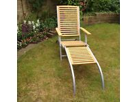 2 Steamer Chairs/Sun Loungers Wood and Metal hardly used great condition as new