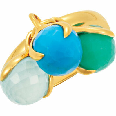 Missoma 18K Yellow Gold Vermeil Multi-Gemstone Ring Size 7