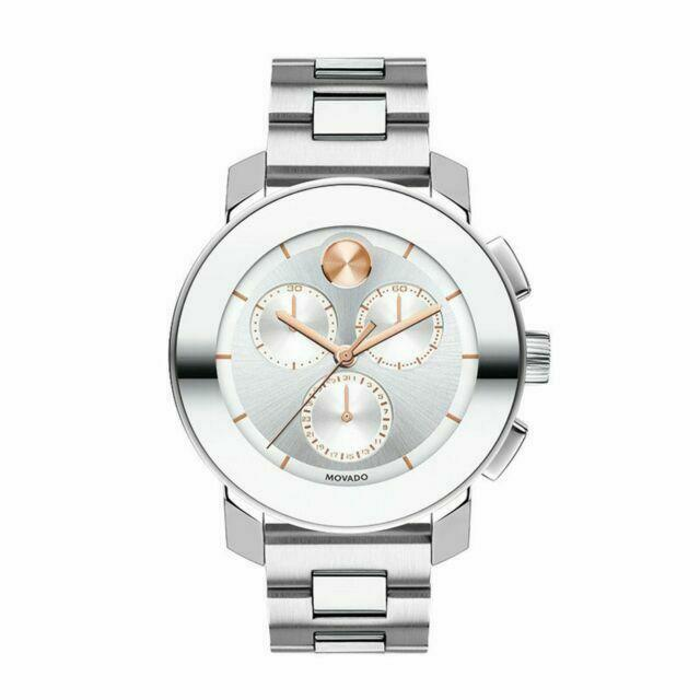 Movado Bold Chronograph Silver-toned Sunray Dial Unisex Watch (3600356)