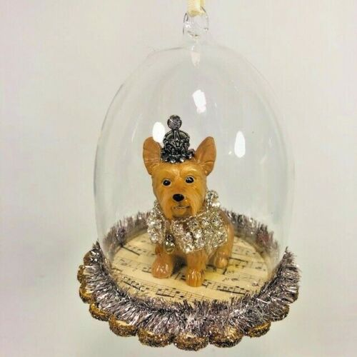 Yorkie  Glass Ornament Cloche Dog Demdaco Animals Hanging Yorkshire Terrier Pets