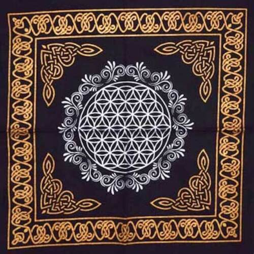 Flower of Life Altar Tarot Cloth or Crystal Grid 18 X 18 Wicca Pagan Free Ship
