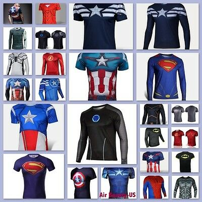Man Marvel Heroes Costume T-shirt Superhero L/S Sleeve Running Tops Jersey Tee-9](Superhero T Shirt Costume)